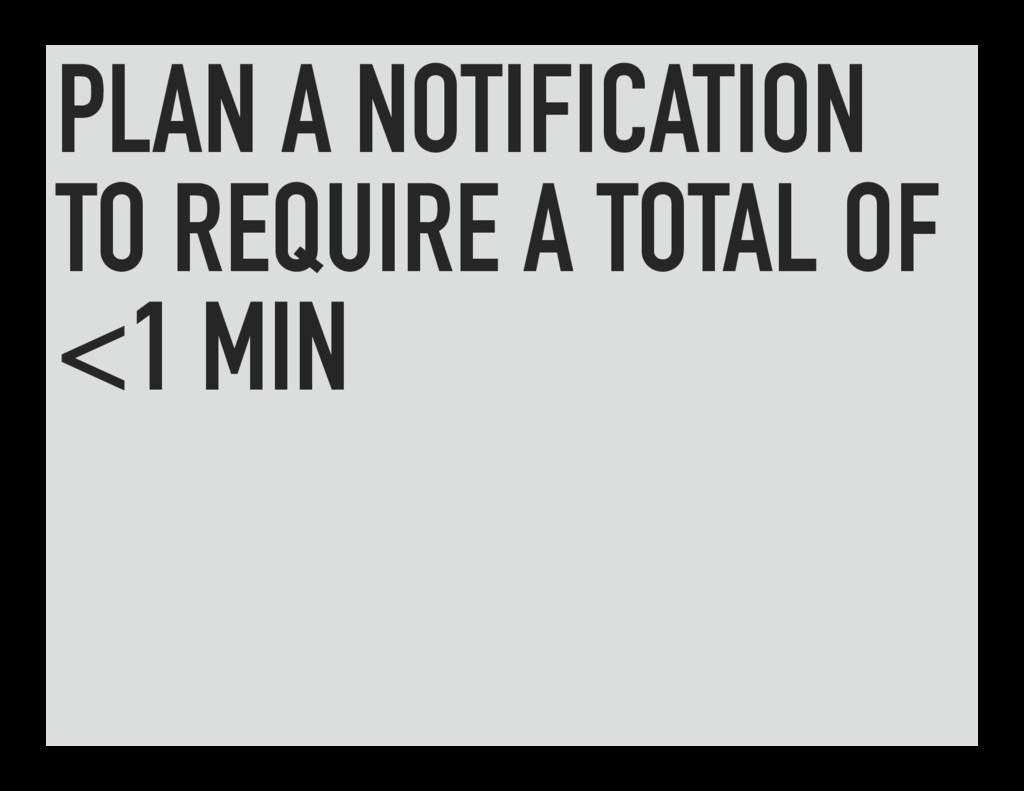 PLAN A NOTIFICATION TO REQUIRE A TOTAL OF <1 MIN