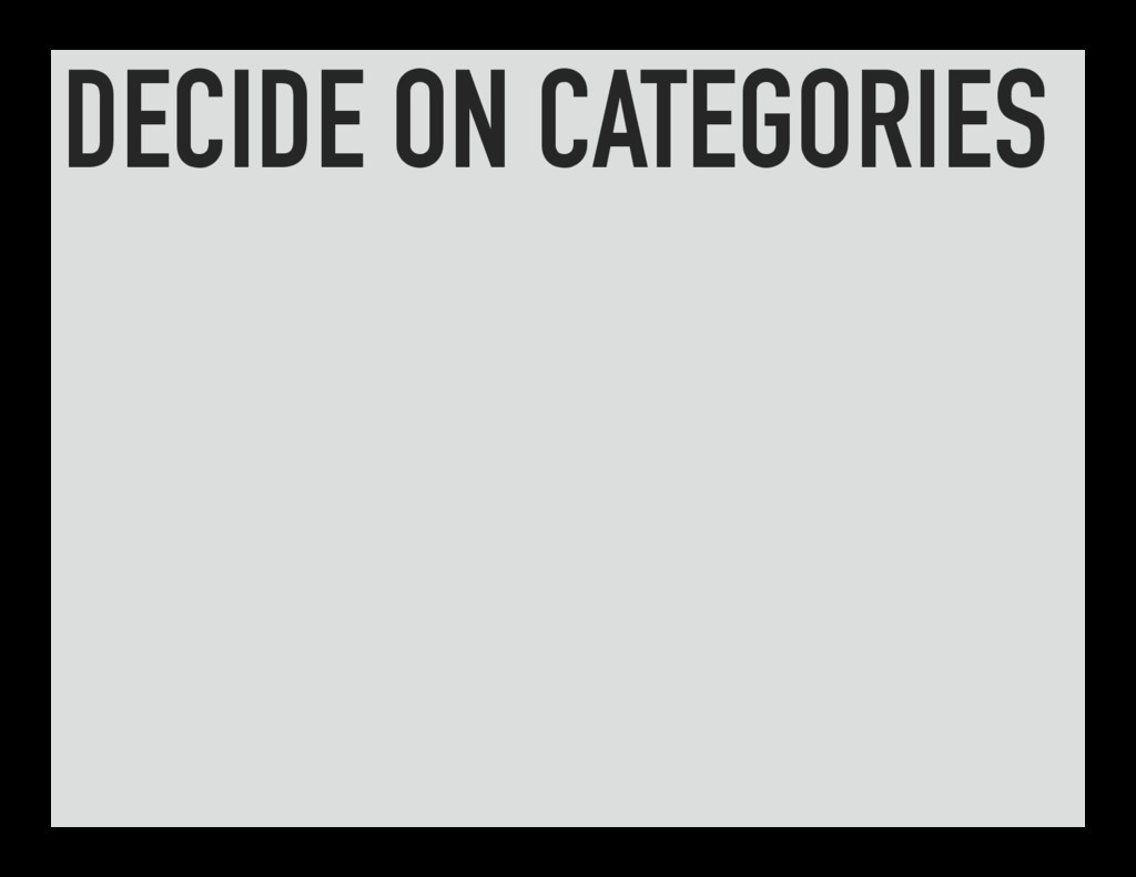 DECIDE ON CATEGORIES
