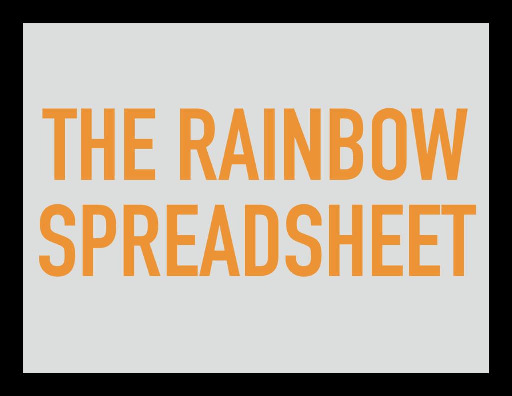 THE RAINBOW SPREADSHEET