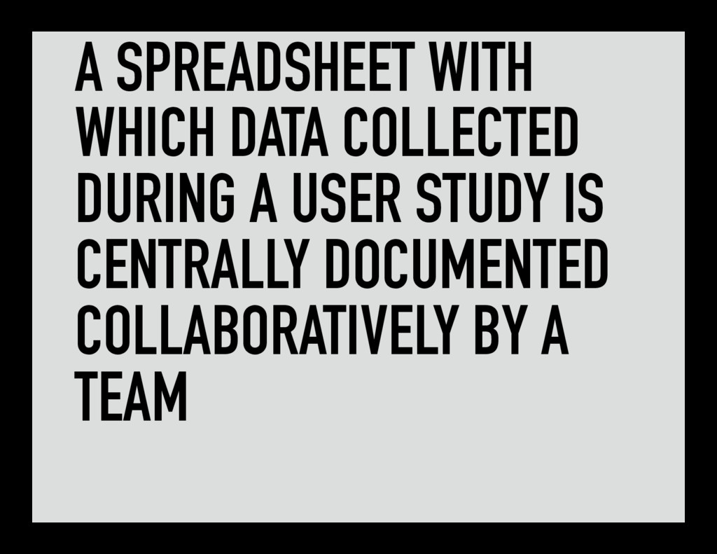 A SPREADSHEET WITH WHICH DATA COLLECTED DURING ...