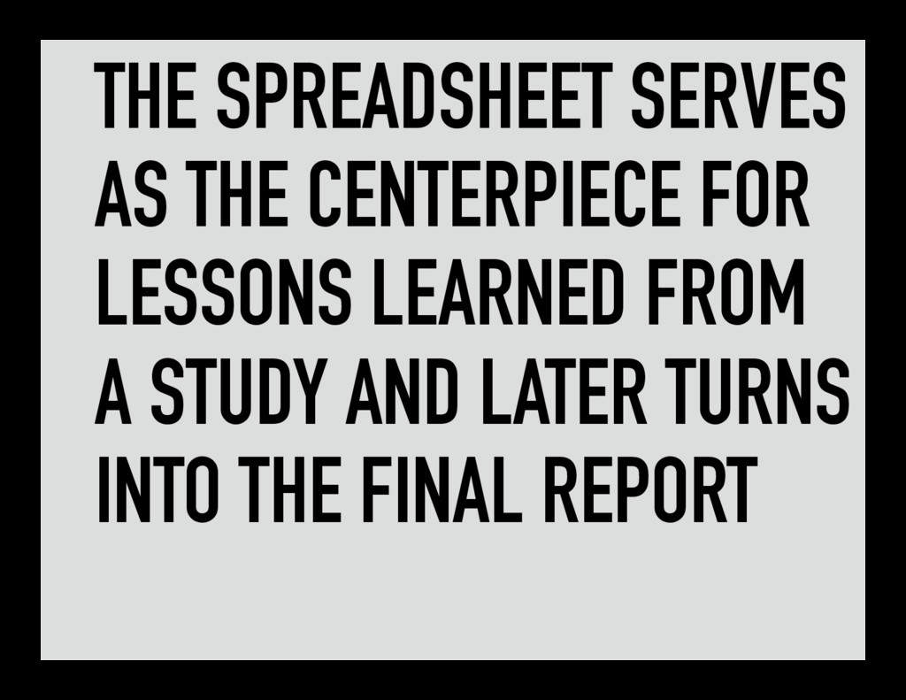 THE SPREADSHEET SERVES AS THE CENTERPIECE FOR L...