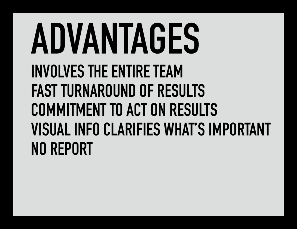 ADVANTAGES INVOLVES THE ENTIRE TEAM FAST TURNAR...