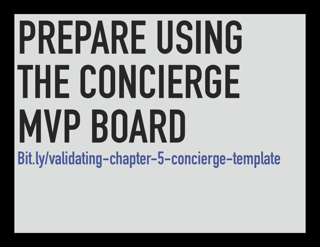 PREPARE USING THE CONCIERGE MVP BOARD Bit.ly/va...