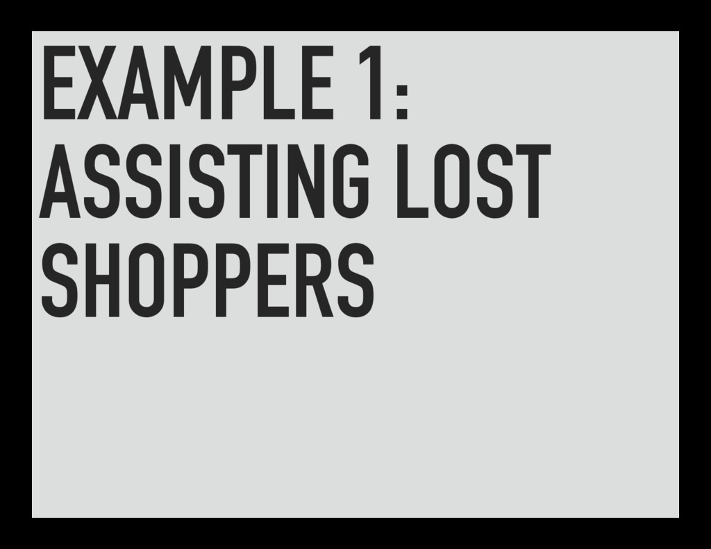EXAMPLE 1: ASSISTING LOST SHOPPERS