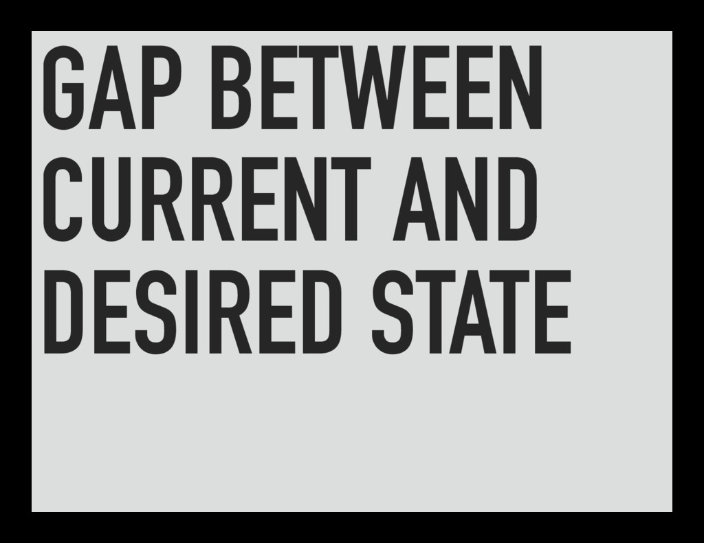 GAP BETWEEN CURRENT AND DESIRED STATE