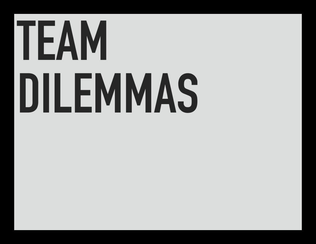 TEAM DILEMMAS