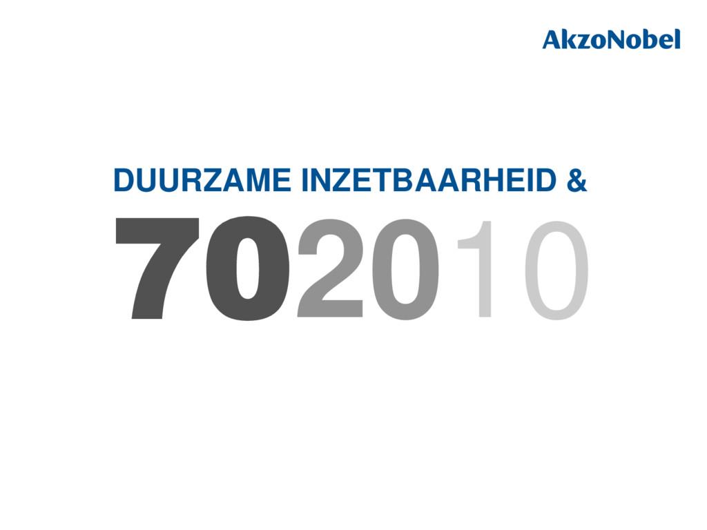 DUURZAME INZETBAARHEID & 702010