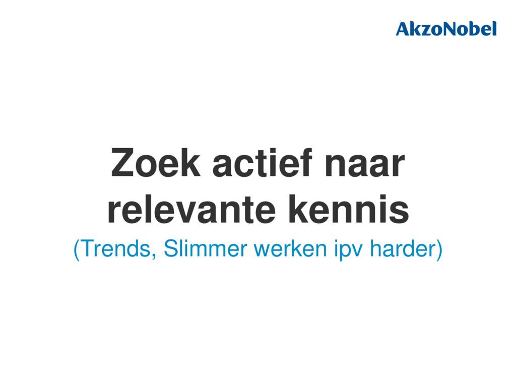 Zoek actief naar relevante kennis (Trends, Slim...