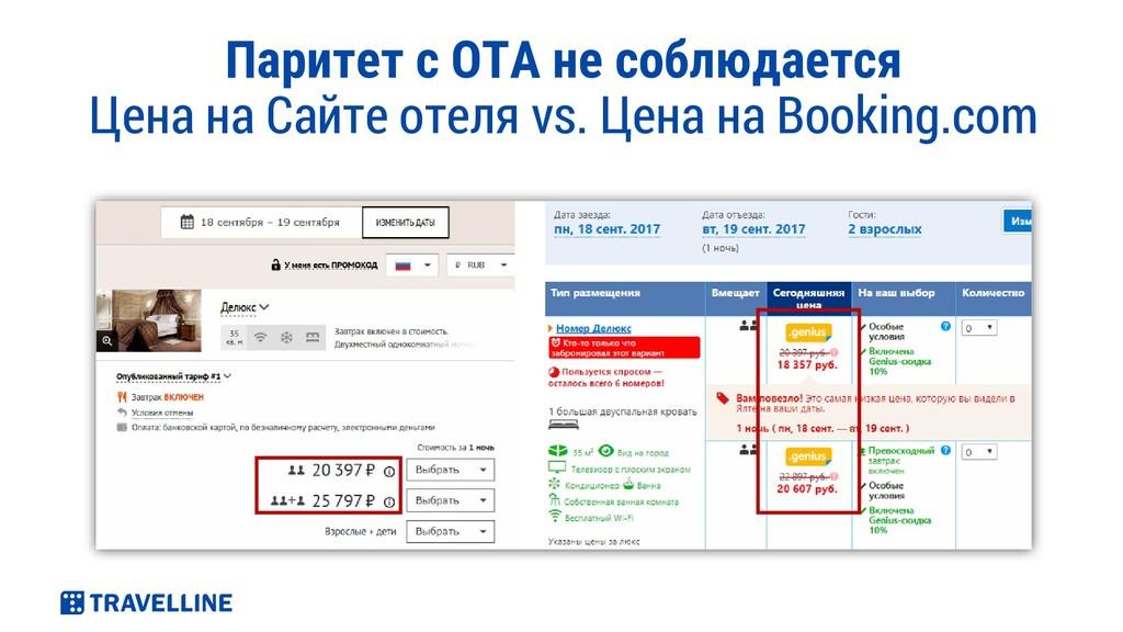 Паритет с ОТА не соблюдается Цена на Сайте отел...