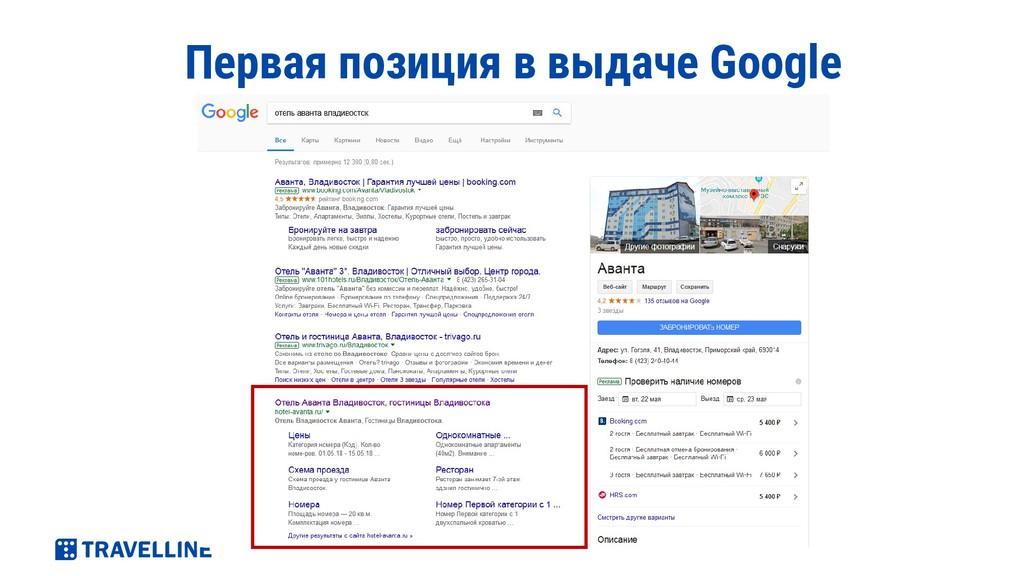 Первая позиция в выдаче Google