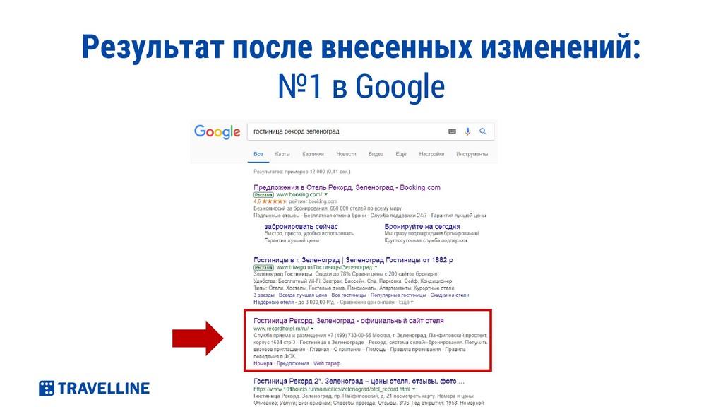 Результат после внесенных изменений: №1 в Google
