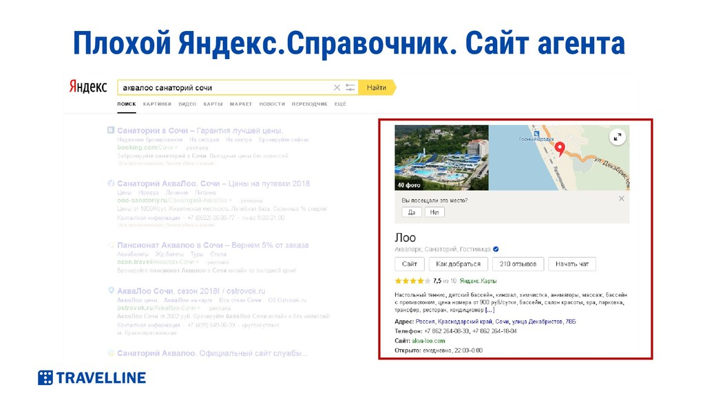 Плохой Яндекс.Справочник. Сайт агента