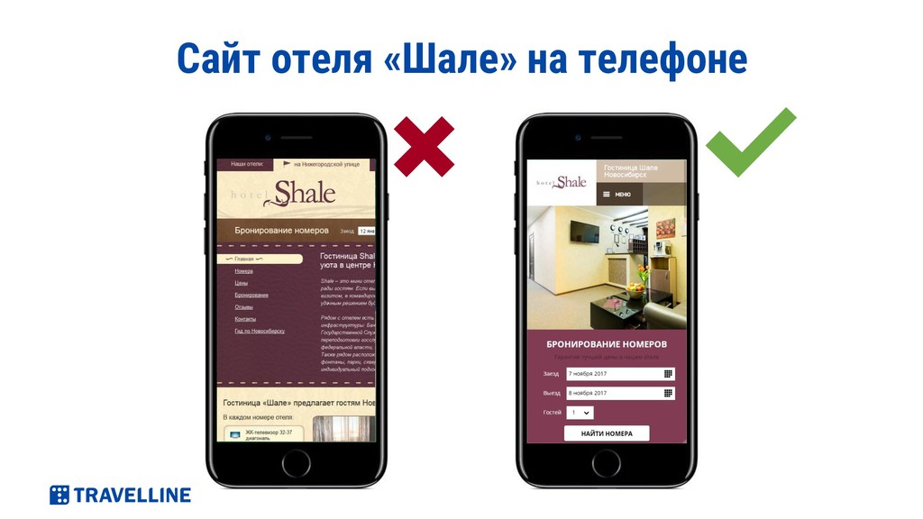Сайт отеля «Шале» на телефоне