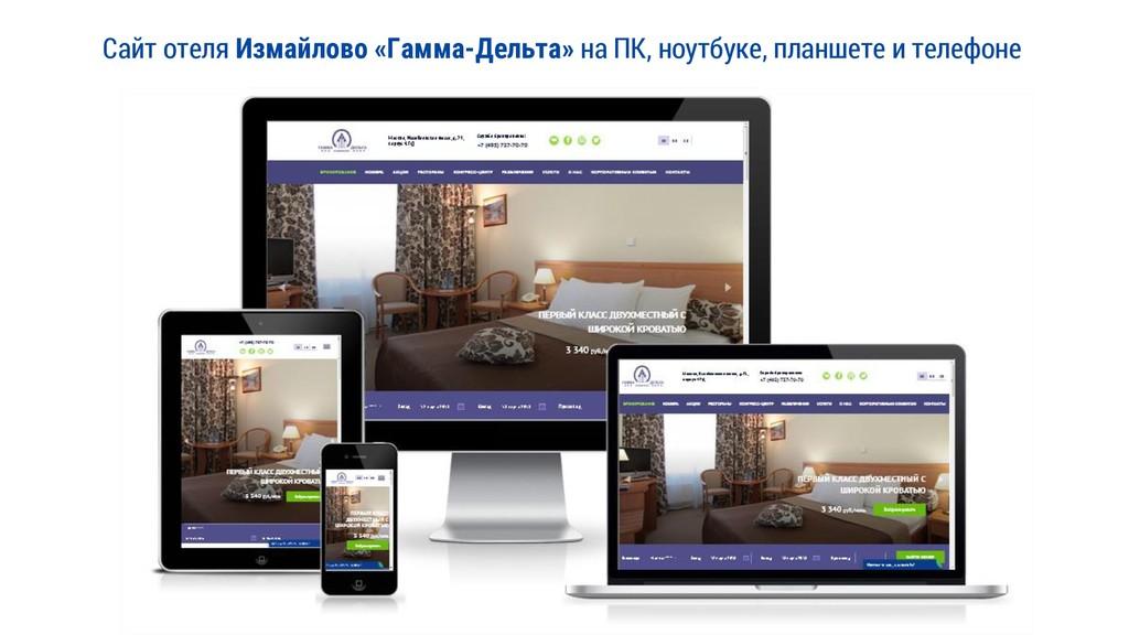 Сайт отеля Измайлово «Гамма-Дельта» на ПК, ноут...