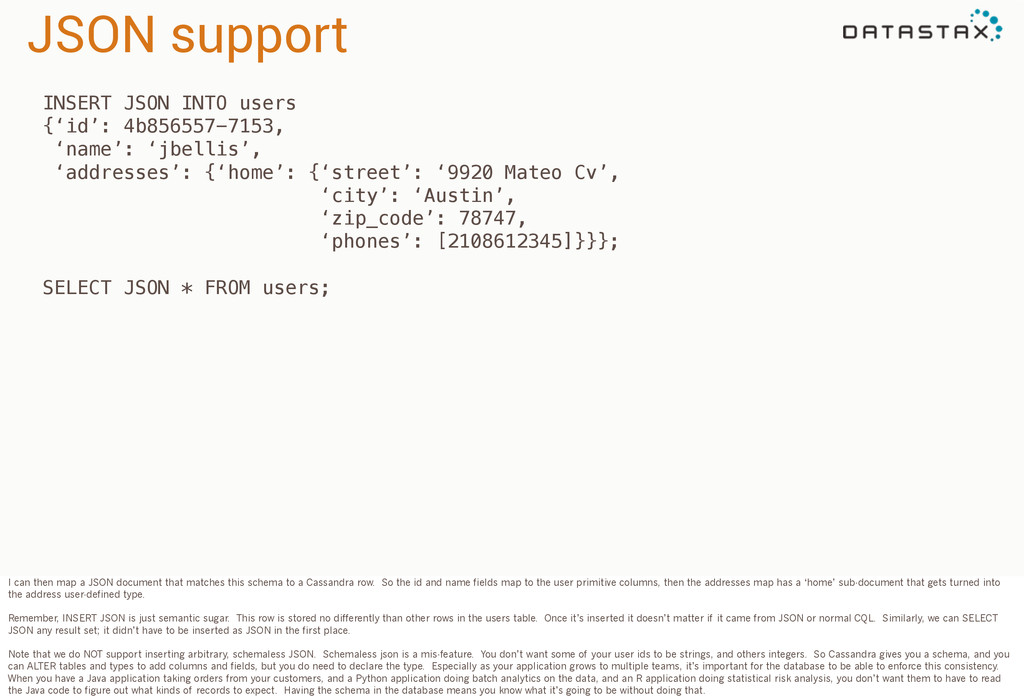 JSON support INSERT JSON INTO users {'id': 4b85...