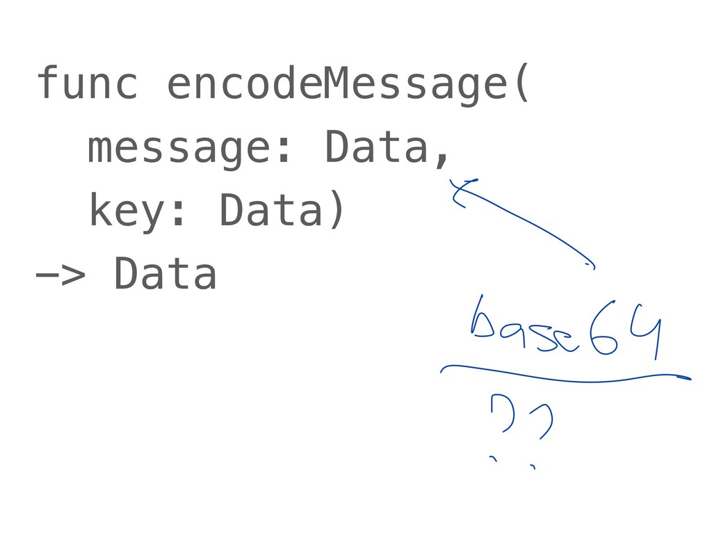 func encodeMessage( message: Data, key: Data) -...