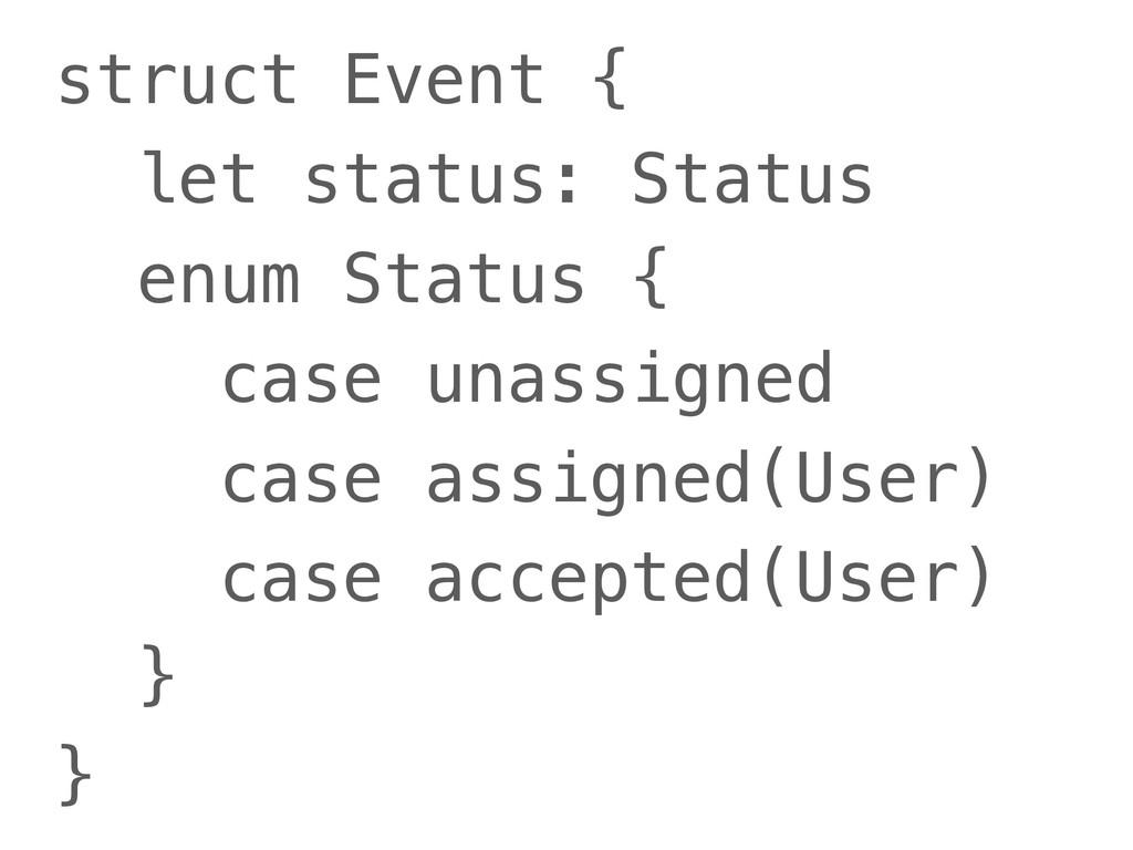 struct Event { let status: Status enum Status {...