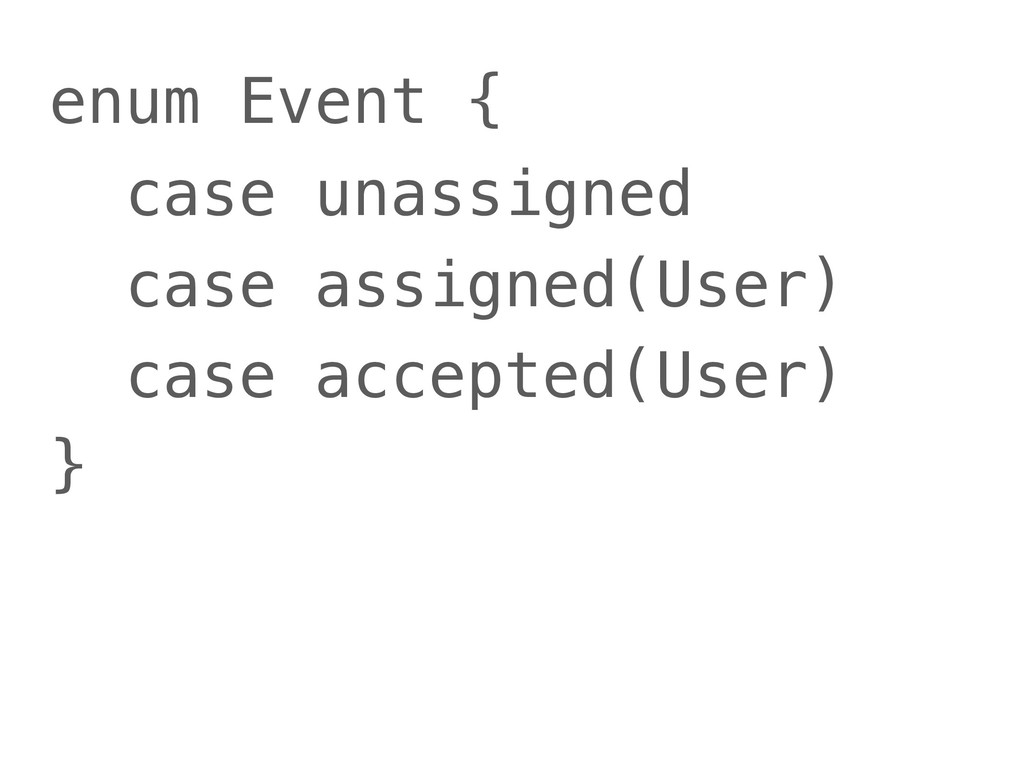 enum Event { case unassigned case assigned(User...
