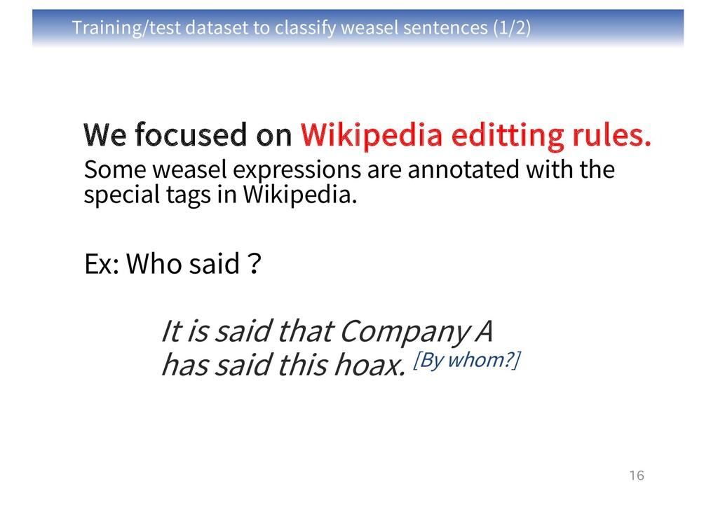 Training/test dataset to classify weasel senten...