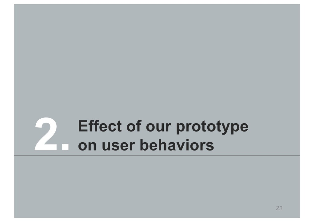 23 Effect of our prototype on user behaviors 2.