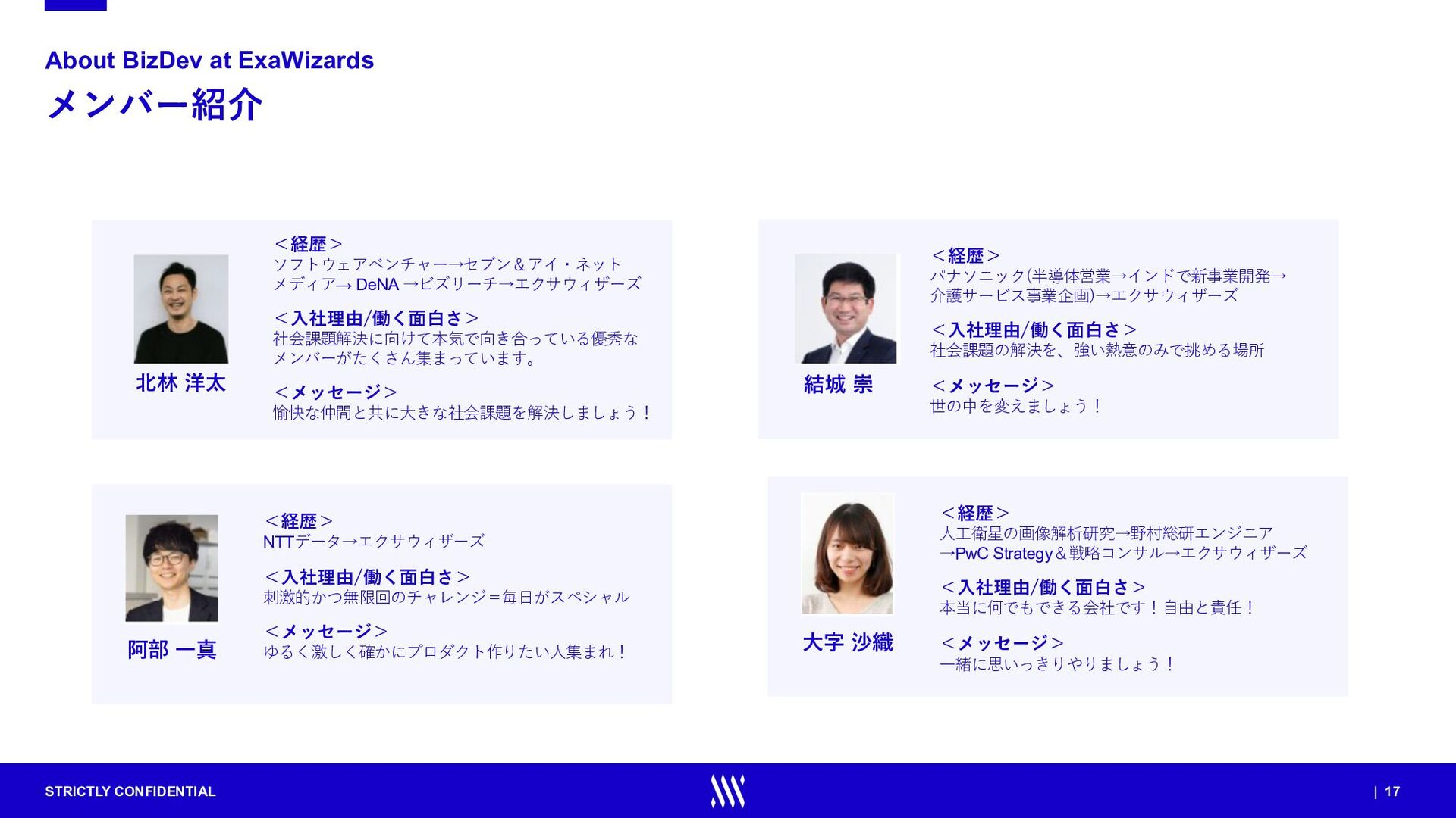 STRICTLY CONFIDENTIAL | 17 メンバー紹介 About BizDev ...