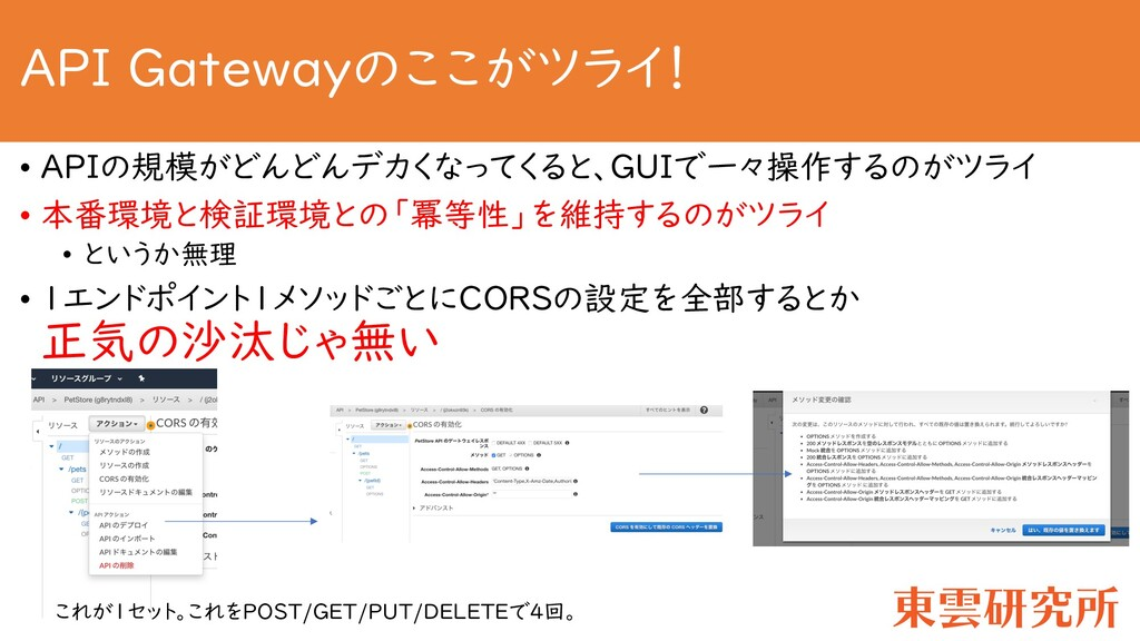 API Gatewayのここがツライ! • APIの規模がどんどんデカくなってくると、GUIで...