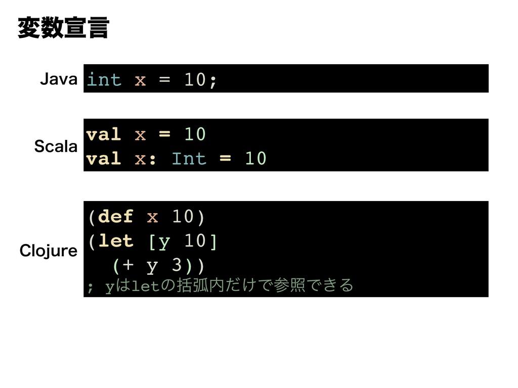 มએݴ int x = 10; +BWB val x = 10 val x: Int = 1...