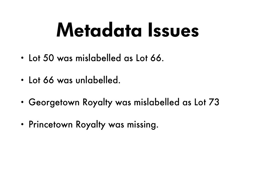 Metadata Issues • Lot 50 was mislabelled as Lot...