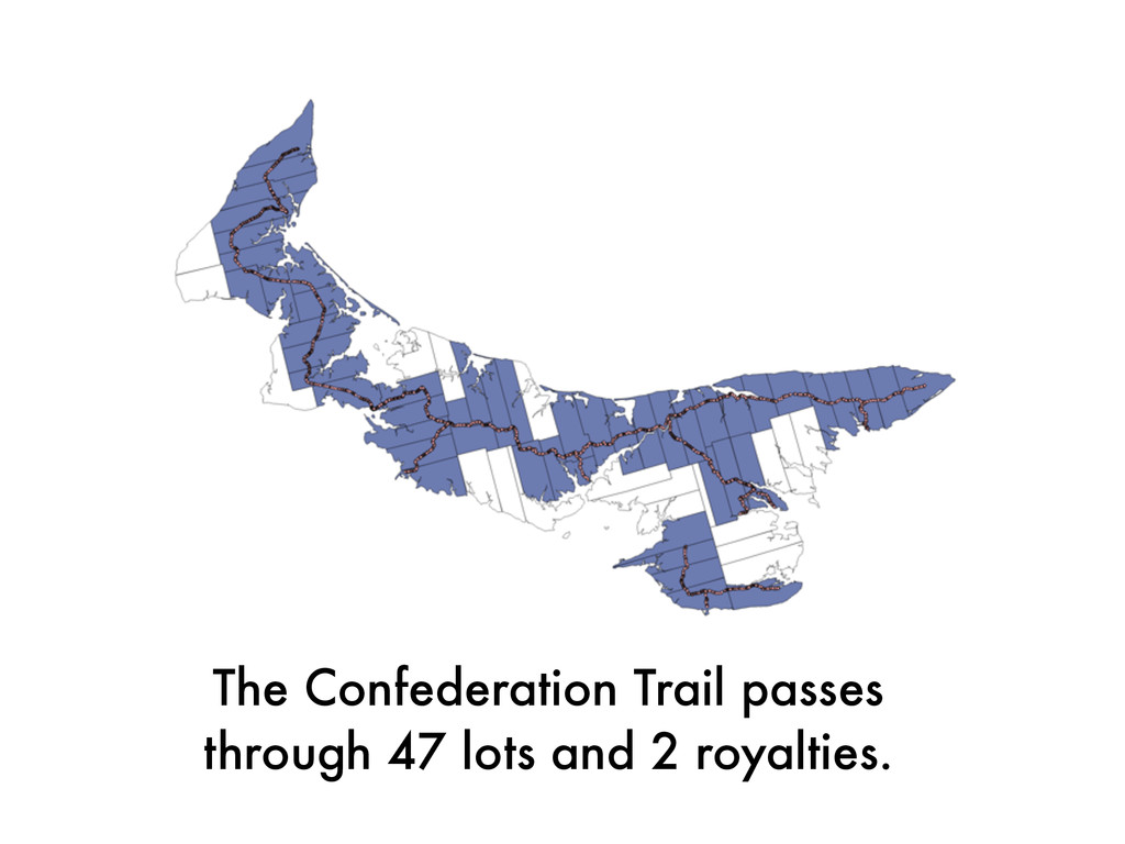 The Confederation Trail passes  through 47 lot...
