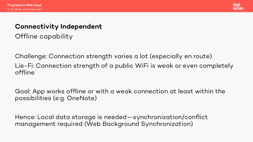 Offline capability Challenge: Connection streng...