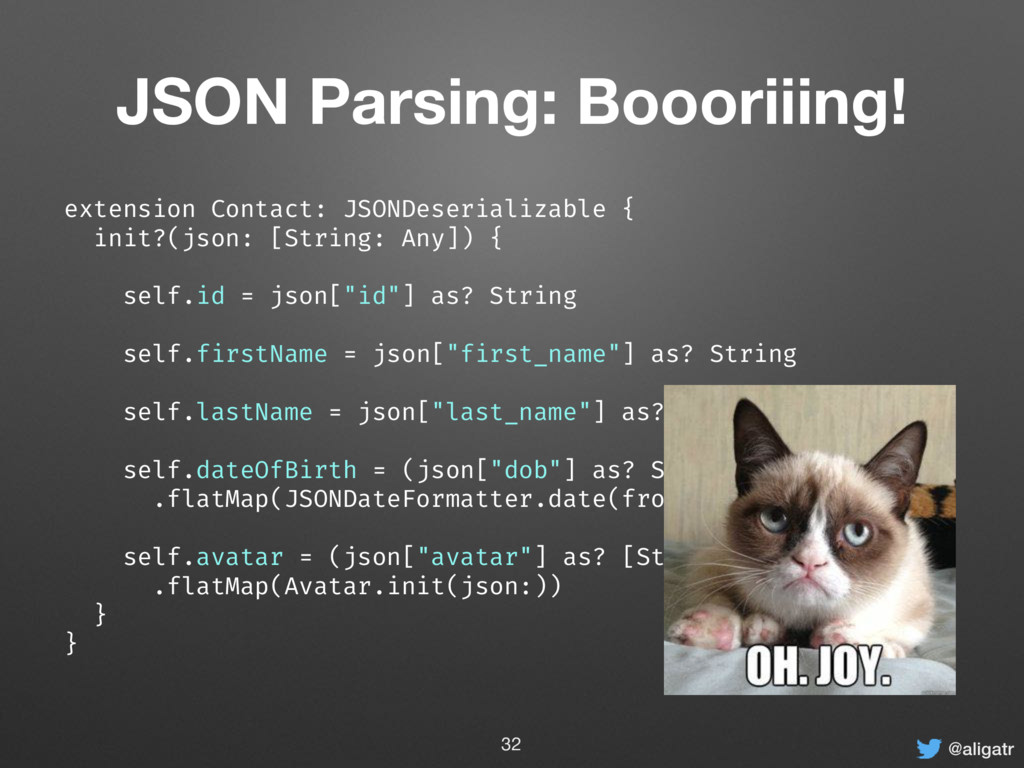 @aligatr JSON Parsing: Boooriiing! extension Co...