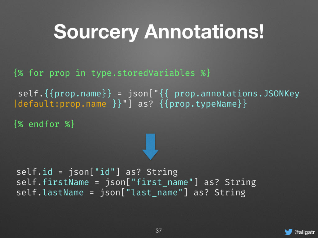 @aligatr Sourcery Annotations! {% for prop in t...