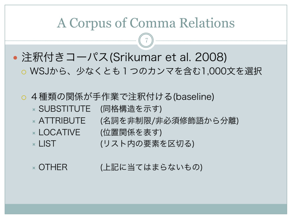A Corpus of Comma Relations 7 —  ஫ऍ෇͖ίʔύε 4SJLV...