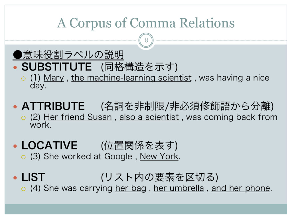A Corpus of Comma Relations 8 ˔ҙຯ໾ׂϥϕϧͷઆ໌ —  4...