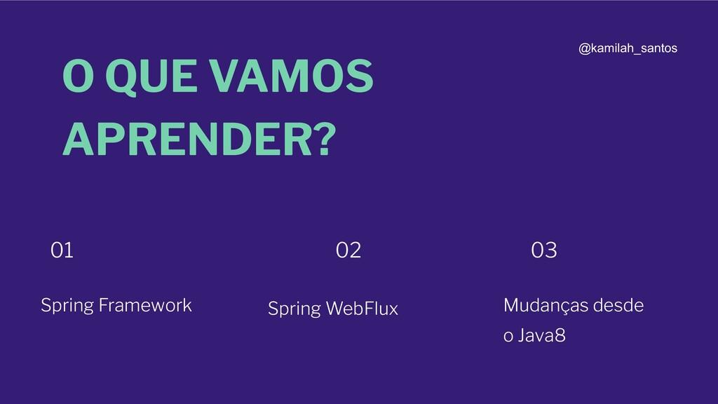 O QUE VAMOS APRENDER? Spring Framework 01 02 03...