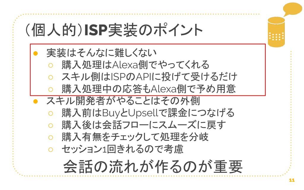 (個人的)ISP実装のポイント 11 ● 実装はそんなに難しくない ○ 購入処理はAlexa側...
