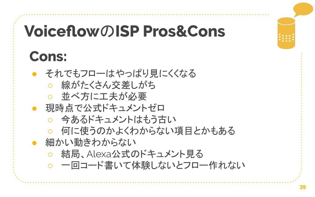 VoiceflowのISP Pros&Cons 39 ● それでもフローはやっぱり見にくくなる ...