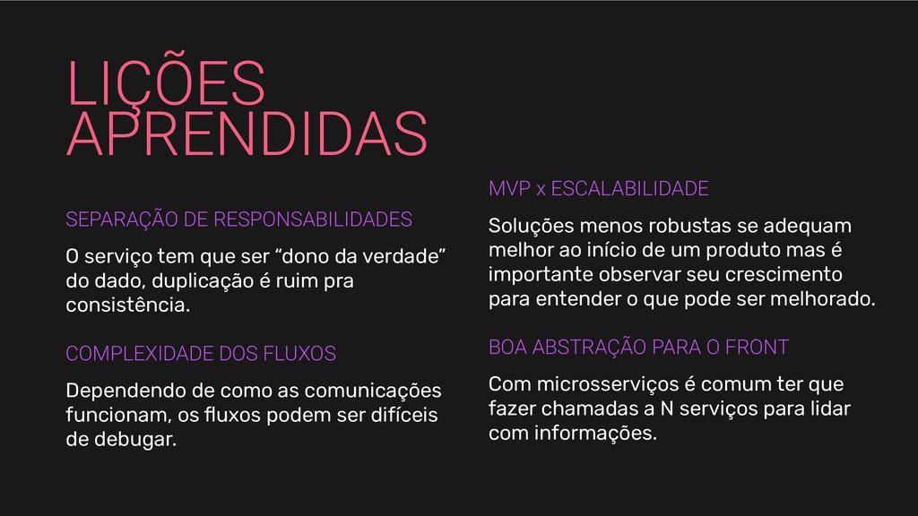 LIÇÕES APRENDIDAS SEPARAÇÃO DE RESPONSABILIDADE...