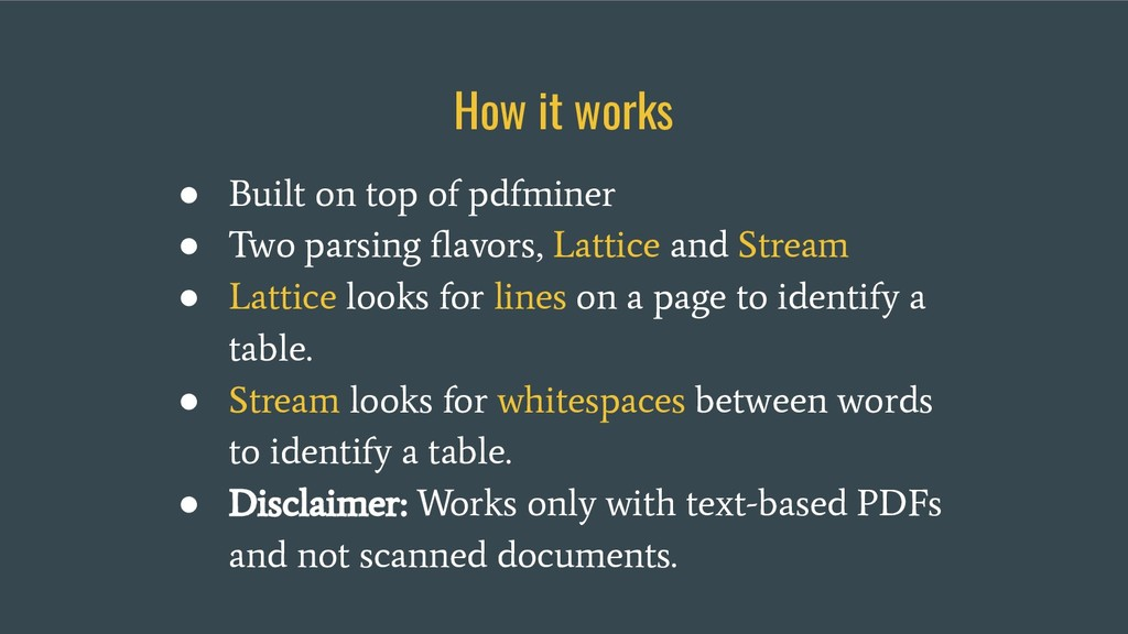 How it works ● Built on top of pdfminer ● Two p...