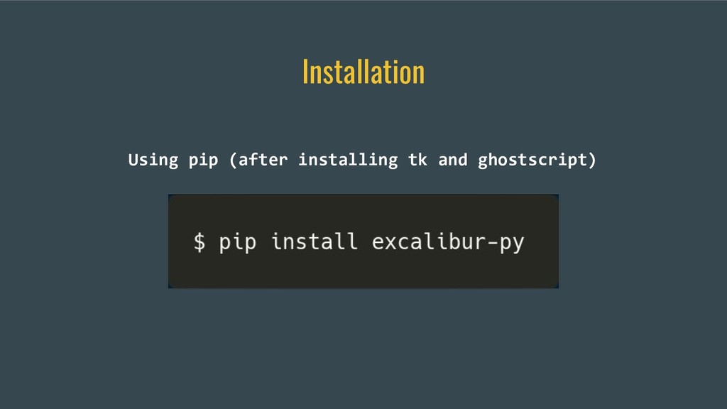 Installation Using pip (after installing tk and...