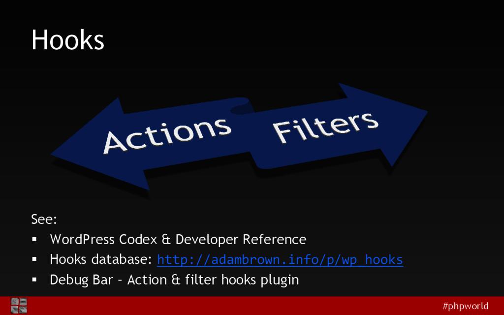 #phpworld Hooks See:  WordPress Codex & Develo...