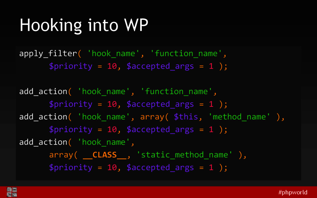 #phpworld Hooking into WP apply_filter( 'hook_n...