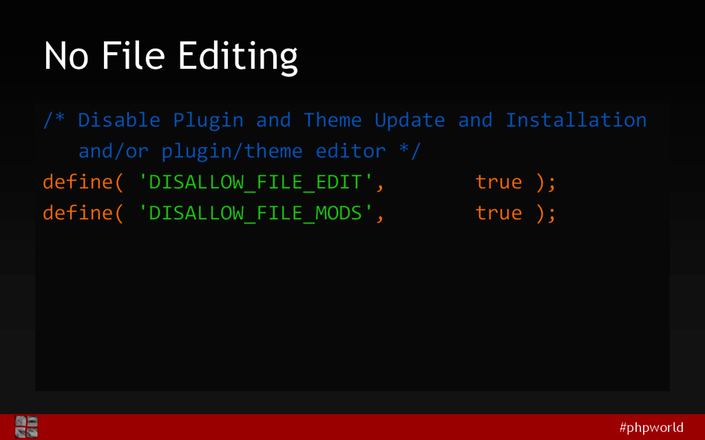 #phpworld No File Editing /* Disable Plugin and...