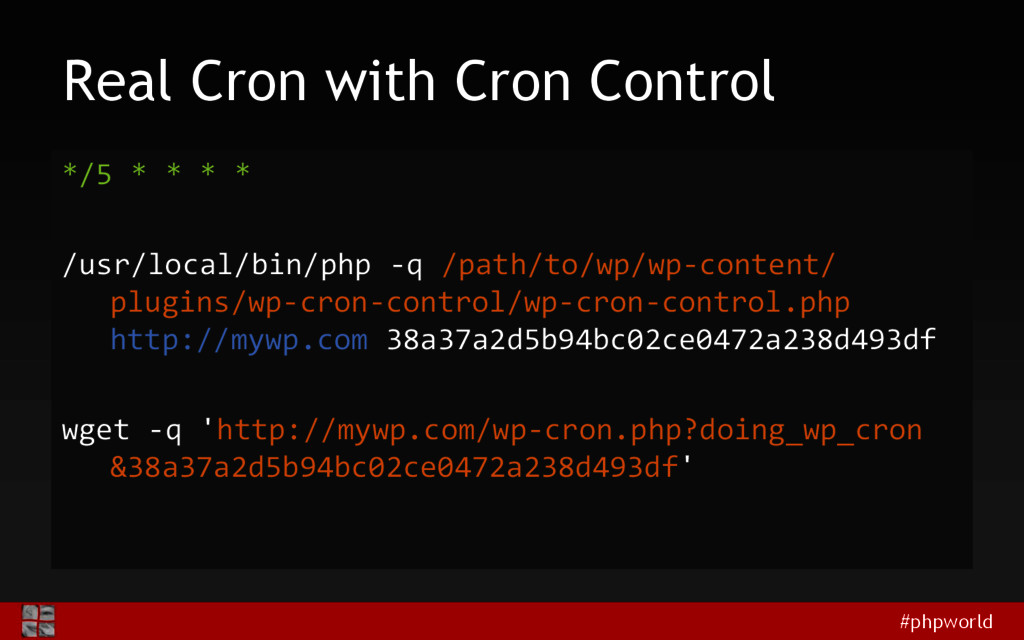 #phpworld Real Cron with Cron Control */5 * * *...