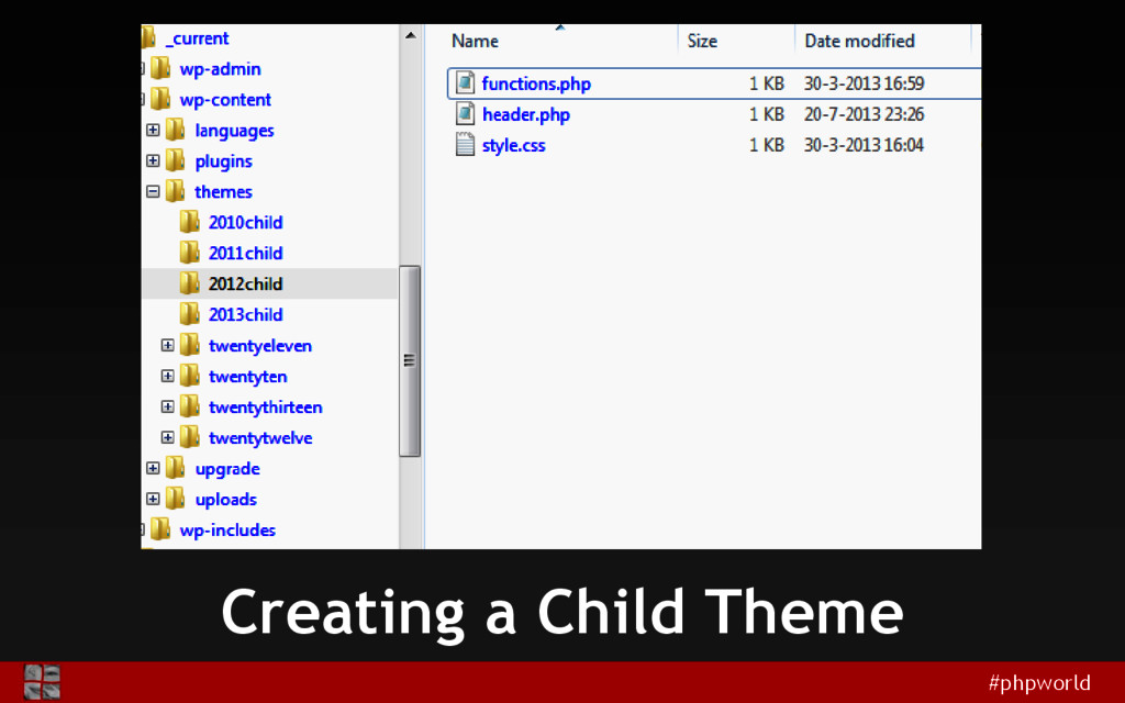 #phpworld Creating a Child Theme