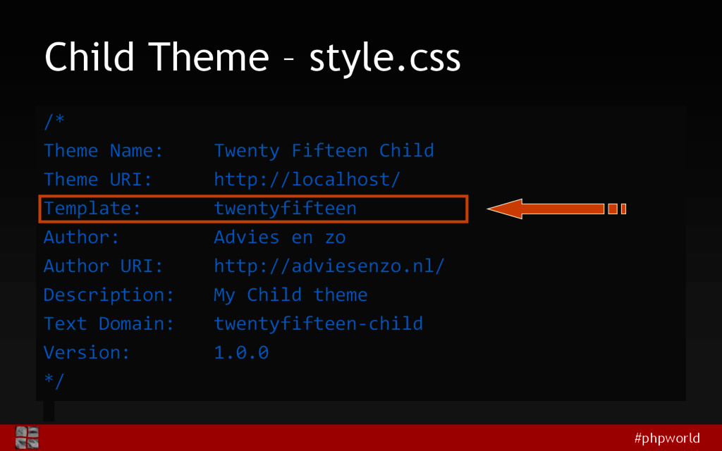#phpworld Child Theme – style.css /* Theme Name...