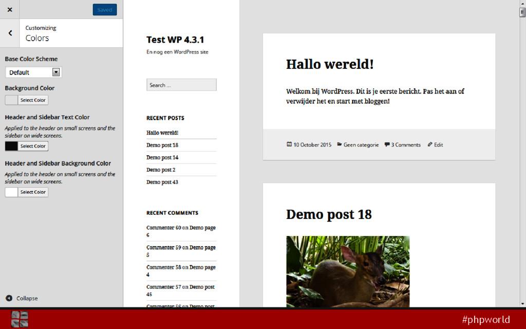 #phpworld Theme Customizer