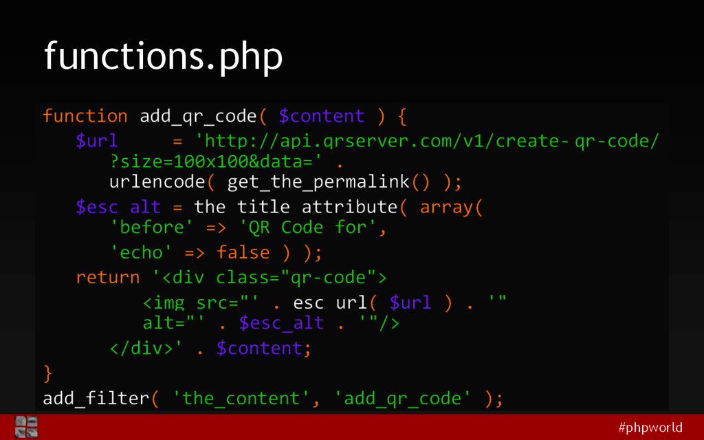 #phpworld functions.php function add_qr_code( $...