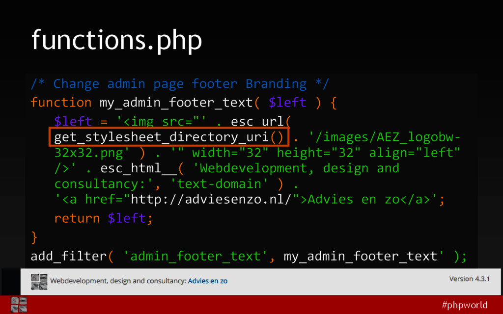 #phpworld functions.php /* Change admin page fo...