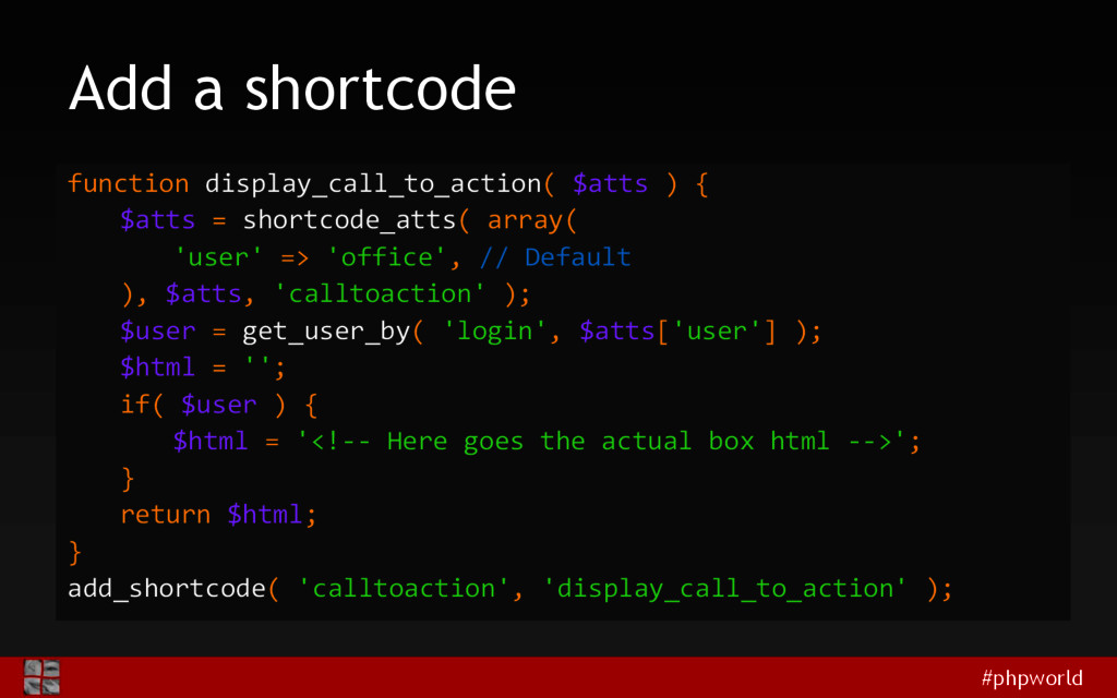 #phpworld Add a shortcode function display_call...